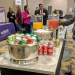 Breakfast Beverages at a Cardiology Meeting February 2020: soda, juice, water, coffee.