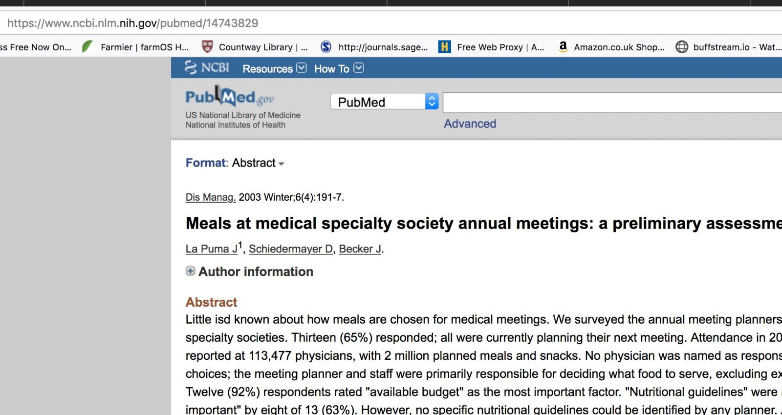 Meals at medical specialty society annual meetings: a preliminary assessment.