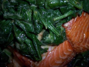 salmon with spinach and mustard sauce