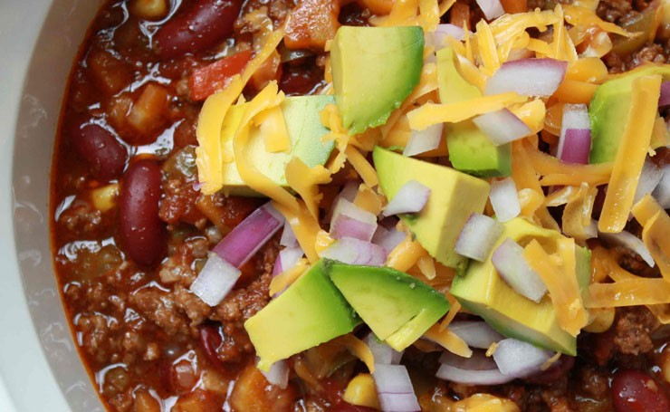 Two Bean Chili With Avocado and Salsa