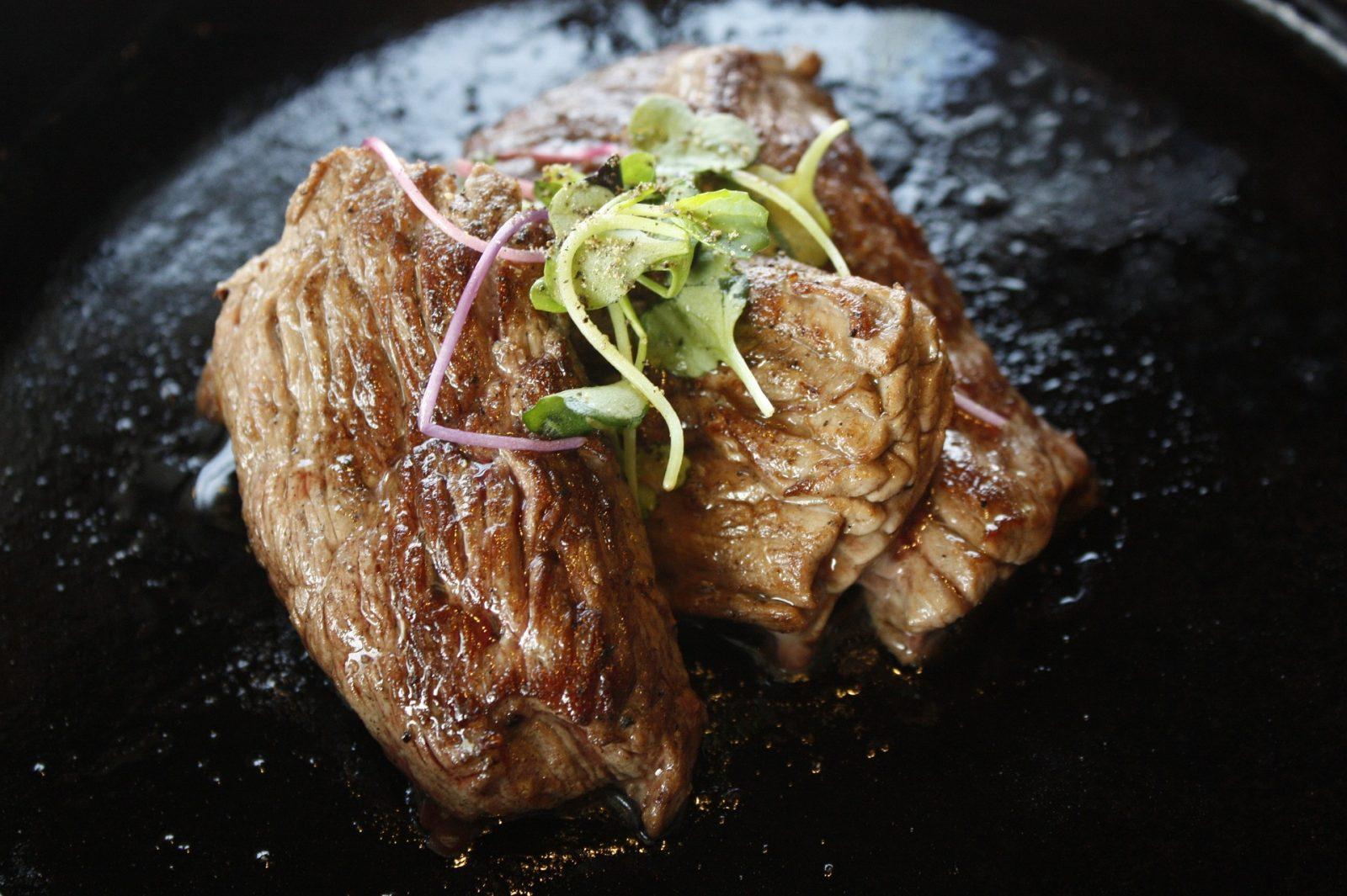 Warm Teriyaki Beef with Pea Shoots