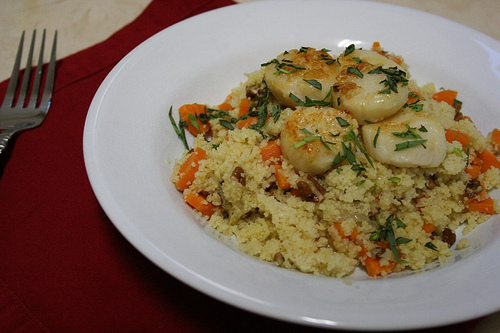scallops and couscous