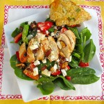 Warm Spinach Salad with Chicken, Apples, and Toasted Almonds