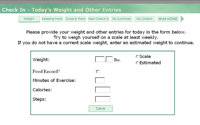 Weight Loss Website from Kaiser: a simple model