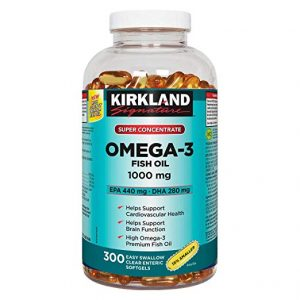 Kirkland Signature Super Concentrate Omega-3 Fish Oil 1000mg, EPA 440/DHA 280, 300 Softgel