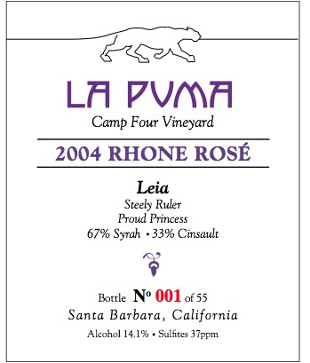 Leia, Rhone Rose Wine Label