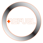 Refuel Logo Cross White