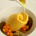 "papaya sorbet and pumpkin ""pudding"" with tropical mamey, crunchy amaranth alegrías, and warm honey."