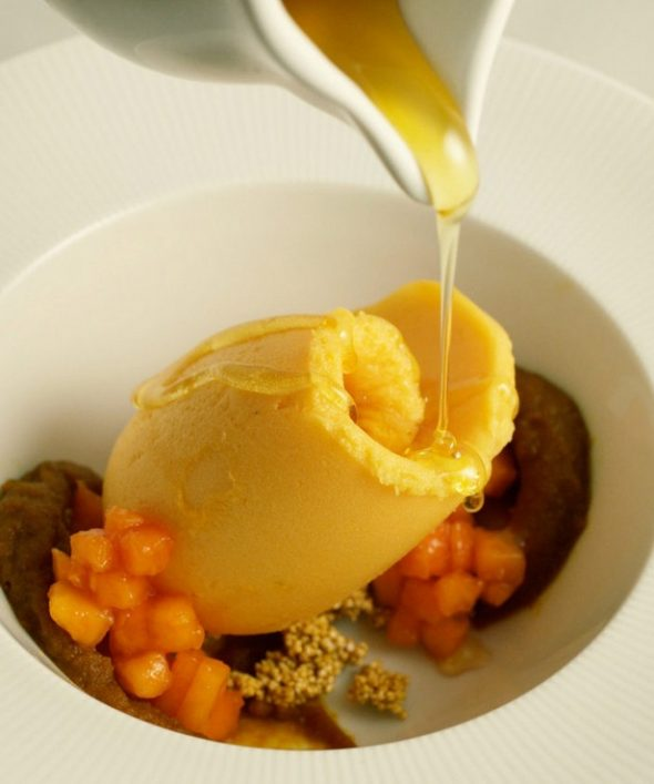 papaya sorbet and pumpkin