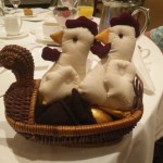 2 chickens, duck basket, golden egg