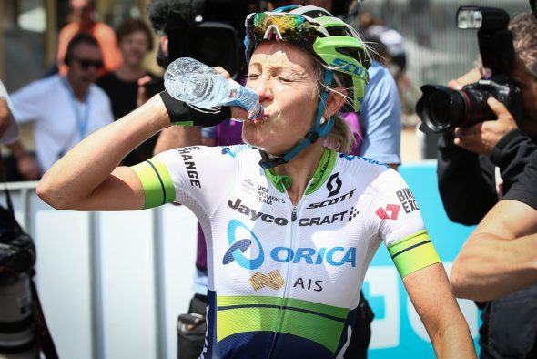 An athlete drinking water