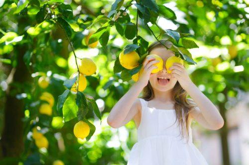 Little girl covering her eyes with lemons!