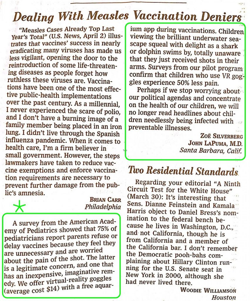 0419 WSJ letter on pilot program to use pain relief in kids using nature therapy thru VR :jpg