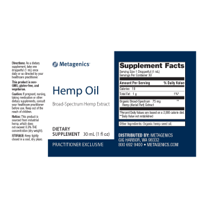 Hemp Oil Broad-Spectrum Hemp Extract Nutrition Facts and Ingredients