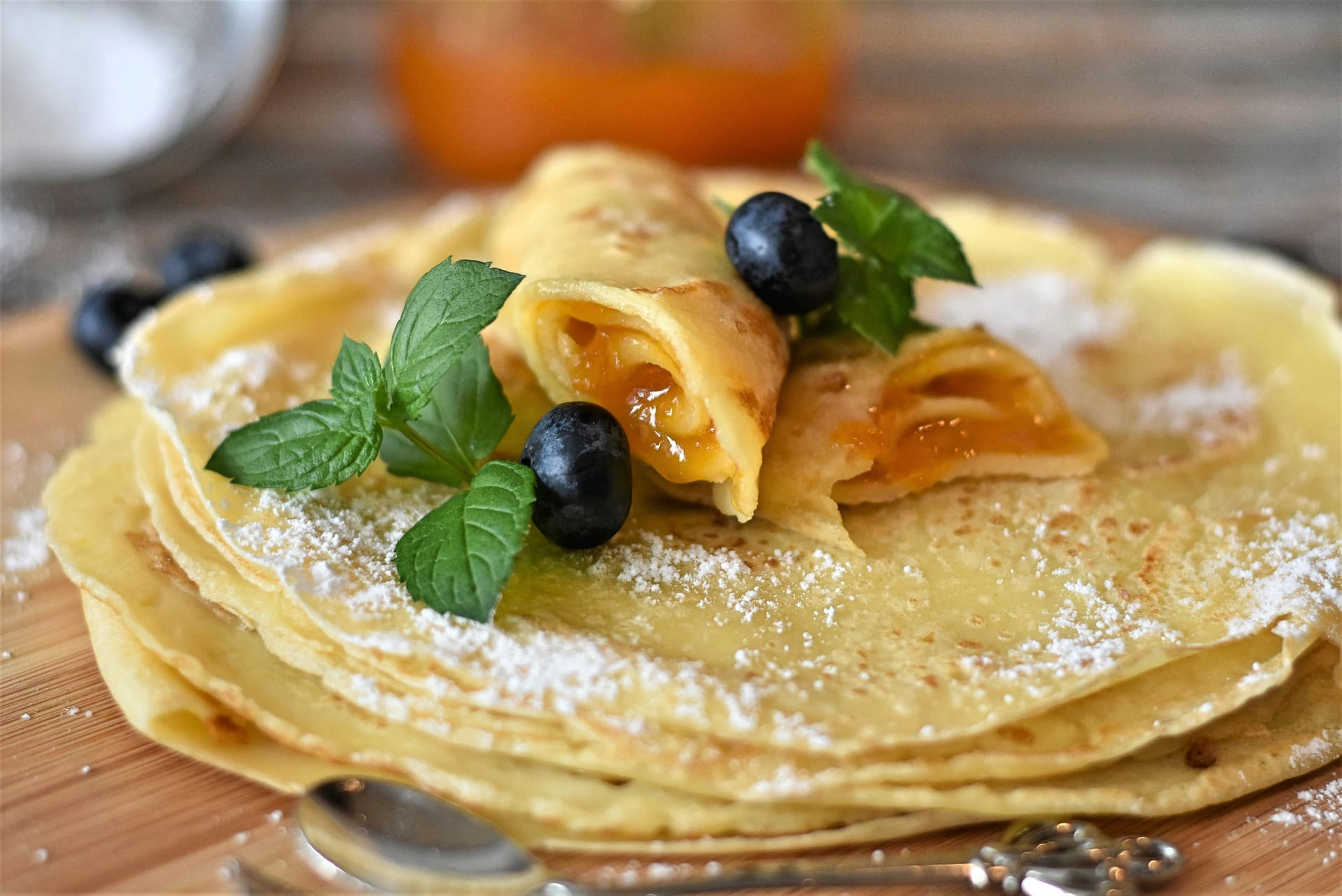 Cheese Blintzes with Blueberry-Lime Sauce
