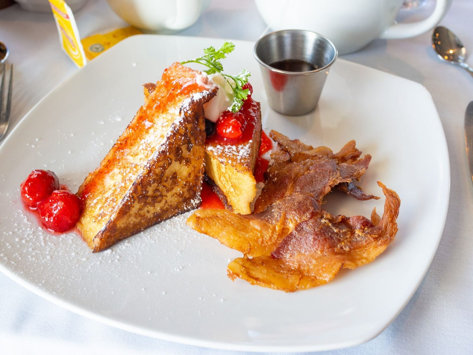 Fabulous French Toast with Spiced Fruit and Powdered Sugar