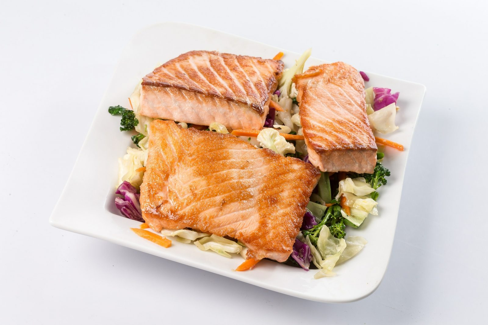 Pan Grilled Citrus Salmon on Vegetable Slaw